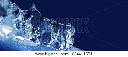 Xmas Decorative Template Background. Textured Frozen Ice On Blue. Abstract Frozen Water Shape Macro