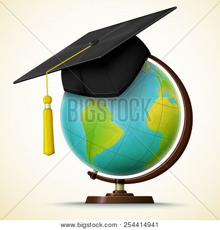Vector Realistic Graduation Cap Hang On The Globe With Geographical Map