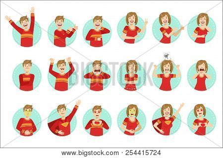 Emotion Body Language Illustration Set With Guy And Woman Demonstrating