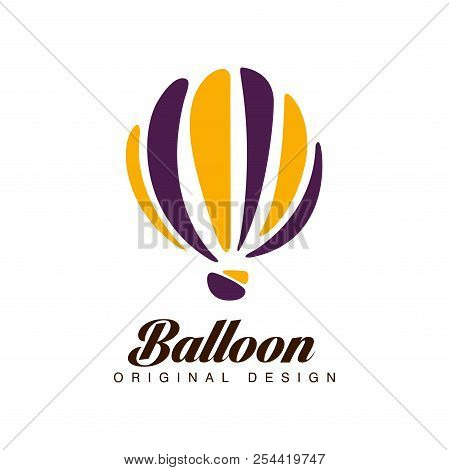 Balloon Original Design, Crerative Badge With Hot Air Balloon Can Be Used For Corporate Brand Identi
