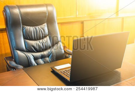 Boss Chair Empty And Computer Notebook Workplace In Office, Office For Boss With Sun Illumination,se