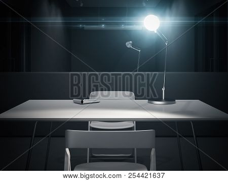 Dark Interrogation Room With Switched-on Lamp, 3d Rendering.