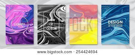 Liquid Color Covers Set. Fluid Shapes Composition. Futuristic Design Posters. Vector Banner. Templat