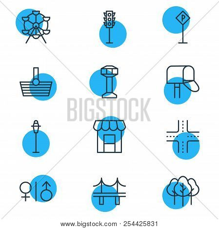 Vector Illustration Of 12 Urban Icons Line Style. Editable Set Of Storefront, Shopping, Carousel And