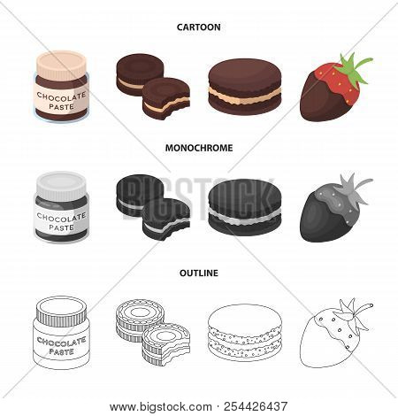 Chocolate Pasta, Biscuit, Strawberry In Chocolate, Hamburger. Chocolate Desserts Set Collection Icon
