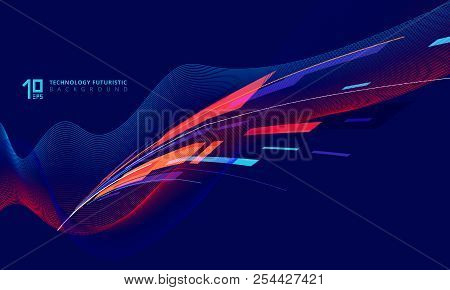 Abstract Perspective Technology Geometric And Twist Lines Colorful On Dark Blue Background. Vector I