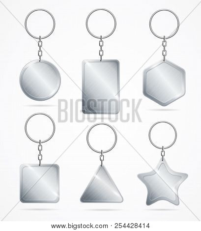 Realistic Detailed 3d Empty Template Keychain Set. Vector