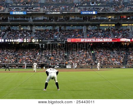 Outfielder Cody Ross Squats Ready For Play Action