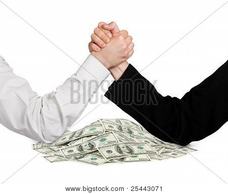 Two Wrestling Hands And Money