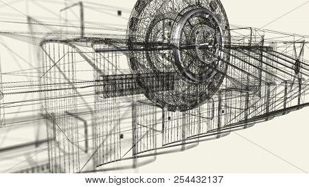Wireframe and metallic engine parts. Abstract technology, science and engineering background. Depth of field settings. 3D rendering.