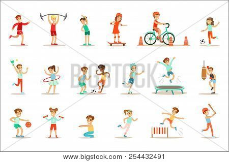 Kids Practicing Different Sports And Physical Activities In Physical Education Class Gym And Outdoor