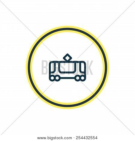 Vector Illustration Of Tram Icon Line. Beautiful Vehicle Element Also Can Be Used As Tramway Icon El