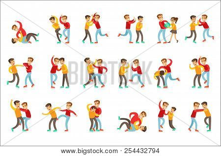 Two Boys Fist Fight Positions, Aggressive Bully In Long Sleeve Red Top Fighting Another Kid Who Is W