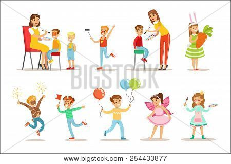 Children In Costume Party Set Of Vector Illustrations With Happy Smiling Kids Having Their Faces Pai