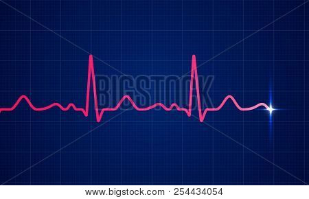 Red Heart Beat Pulse Electrocardiogram Rhythm On Blue Cardio Chart Monitor Background. Vector Health