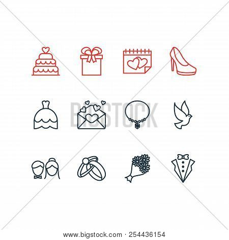 Vector Illustration Of 12 Engagement Icons Line Style. Editable Set Of Necklace, Posy, Marriage Day