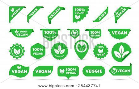 Vegan Green Stickers Set For Vegan Product Shop Tags, Vegetarian Labels Or Banners And Posters. Vect