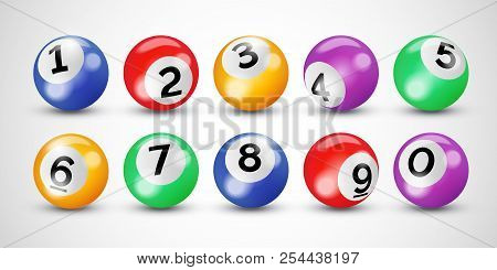 Bingo Lottery 3d Balls With Numbers For Keno Lotto Or Billiard Snooker Game On Vector Transparent Ba