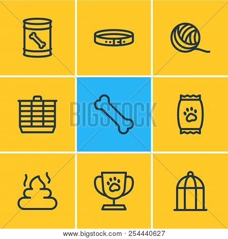 Vector illustration of 9 pet icons line style. Editable set of birdcage, hamster cage, kibble and other icon elements. poster