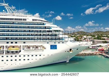 St. John, Antigua - March 05, 2016: Beautiful Large Cruise Ship, Big White Passenger Boat, Luxury Mo