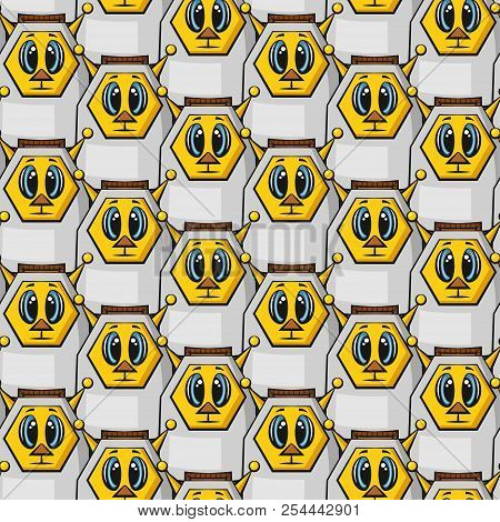 Seamless Background With Cartoon Robots, Tile Pattern With Cute Funny Characters. Vector