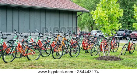 Rocheport, MO, USA - July 29, 2018: Bike rental at Katy Trail -  the nation's longest rails-to-trails project, 237 mile bike trail, stretching from the Machens to Clinton.