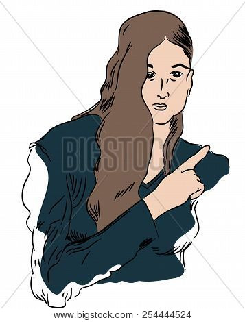 Index Finger  Illustration Of Beautiful Woman Pointing Index Finger.