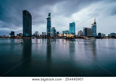 Beautiful View Of Ho Chi Minh City Skyline And Skyscrapers In Center Of Heart Business At Ho Chi Min