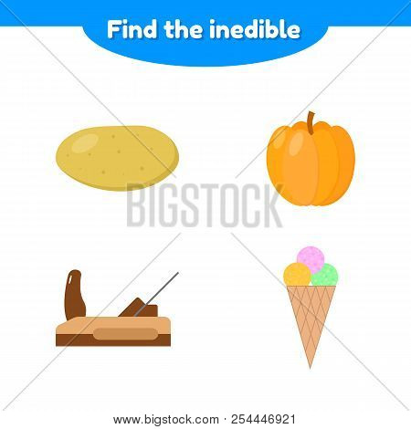 Vector Illustration. Puzzle Game For Preschool And School Age Children. Find The Inedible. Potatoes,