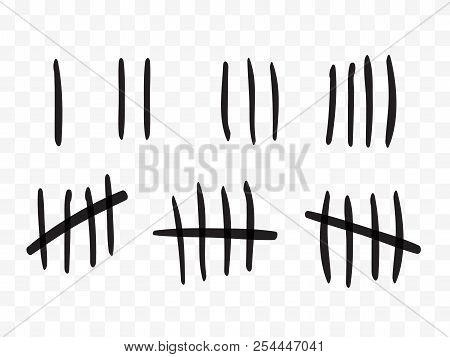 Tally Marks On A Prison Wall Isolated. Counting Signs. Vector