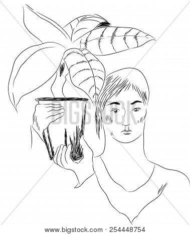 Girl And Flower Pot.  Illustration Of Girl Holding Flower Pot On The Shoulder.