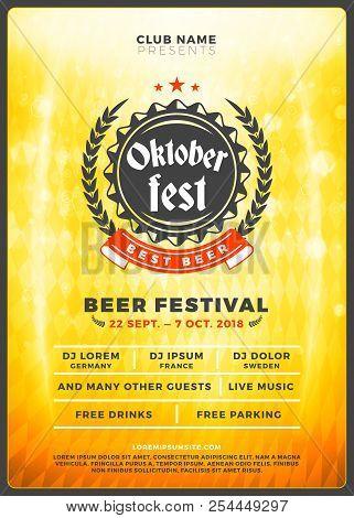 Oktoberfest Beer Festival Celebration. Typography Poster Or Flyer Template For Beer Party. Vintage B