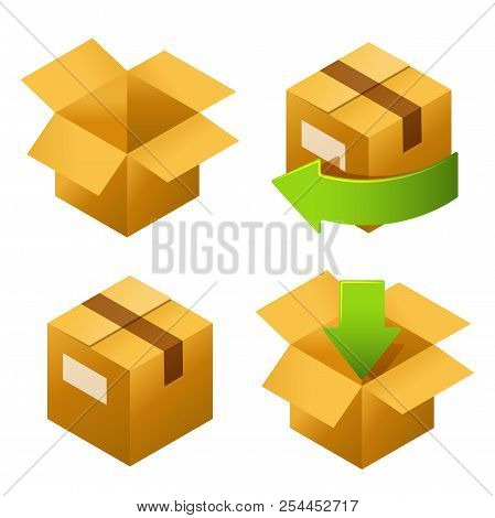 Isometric Cardboard Boxes Set Icons. Delivery And Free Return Of Gifts Or Parcels