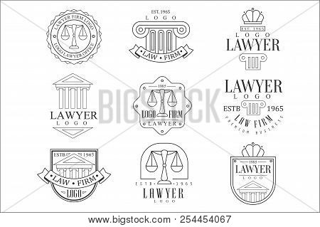 Law Firm And Lawyer Office Logo Templates With Classic Ionic Pillars, Pediments Balance Silhouettes