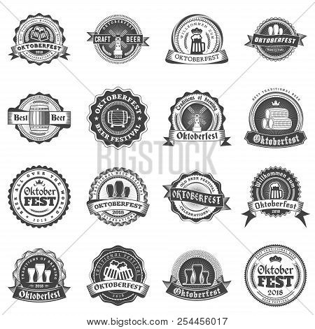 Beer Festival Oktoberfest Celebrations. Set Of Retro Vintage Beer Badges, Labels, Logos For Bar, Pub