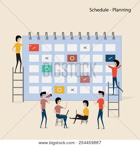 Calendar With Schedule Plans.people Filling Out The Schedule In The Table.work Planning.daily Routin