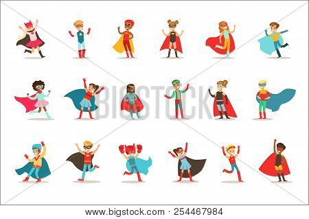Children Pretending To Have Super Powers Dressed In Superhero Costumes With Capes And Masks Set Of Smiling Characters poster