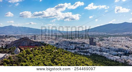 Athens, Greece. Lycabettus hill and open air theatre, Athens city aerial view