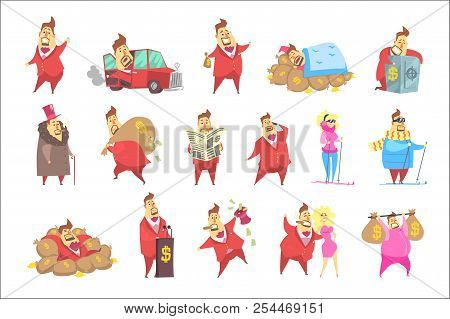 Millionaire Rich Man Funny Cartoon Character And His Money Collection Of Lifestyle Situations