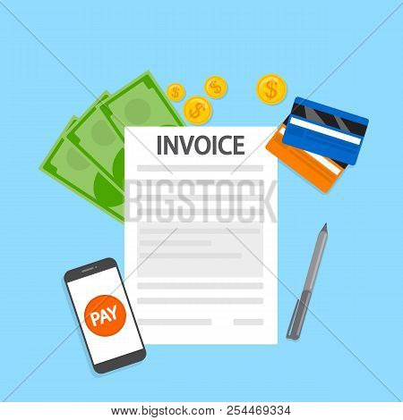 Invoice Concept. Signing Financial Document With Bill