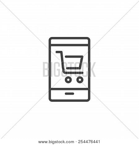 Online Shop Outline Icon. Linear Style Sign For Mobile Concept And Web Design. Smartphone With Shopp