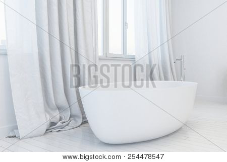 One single glossy white minimalist tub with metal spigot next to window on top of white wooden plank floor. 3d Rendering.