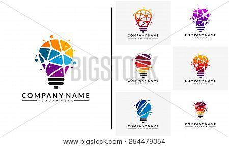 Set Of Modern Tech Bulb Logo Designs Concept, Pixel Technology Bulb Idea Logo Template