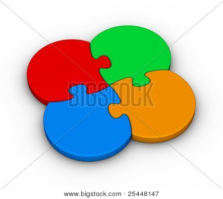 four multicolor jigsaw puzzles on white background