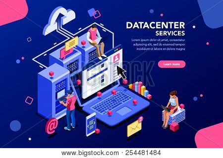 Internet Datacenter Connection, Administrator Of Web Hosting Concept. Character And Text For Service