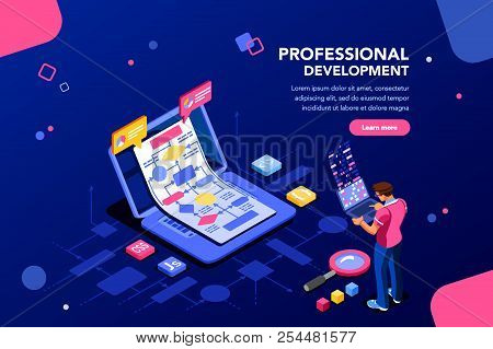 Programmer Person And Interactive Technical Software. Professional Code For Company Concept With Cha