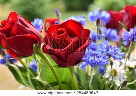 Red Rose Closeup In A Summer Flower Bouquet