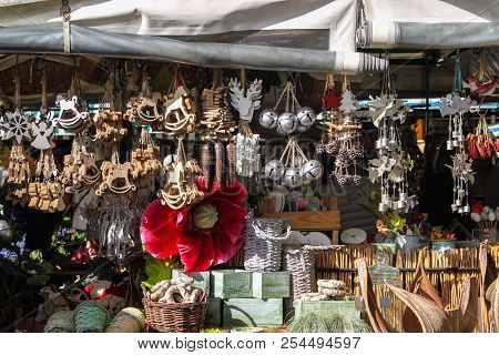 Vendors Of Goods At Victuals Market In Munich Germany