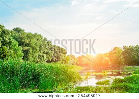 Dawn On The River - Beautiful Summer Landscape. Ukraine, Donets River, Sunrise In Late August.