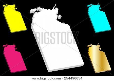 3d Map Of Northern Territory (australian States And Territories, Nt) - White, Yellow, Purple, Blue A